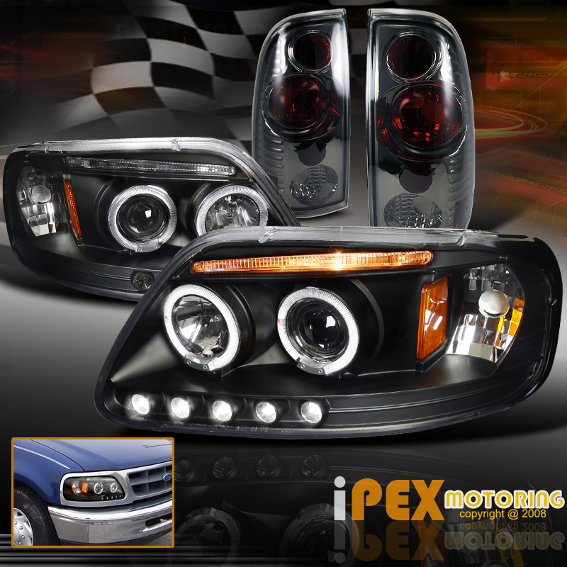 1997 2003 Ford F150 Dual Halo Led Projector Black Headlights Smoke