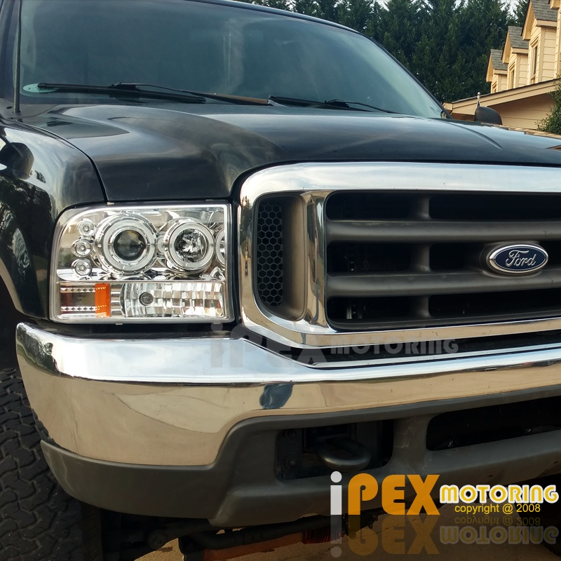 99 F350 Headlights >> Details About New 1999 2004 Ford F250 F350 Super Duty Halo Led Projector Headlights Chrome