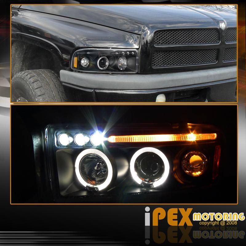 94-01 Dodge Ram 1500 2500 Halo Projector Black Headlights+Dark Smoke Tail Lights   eBay