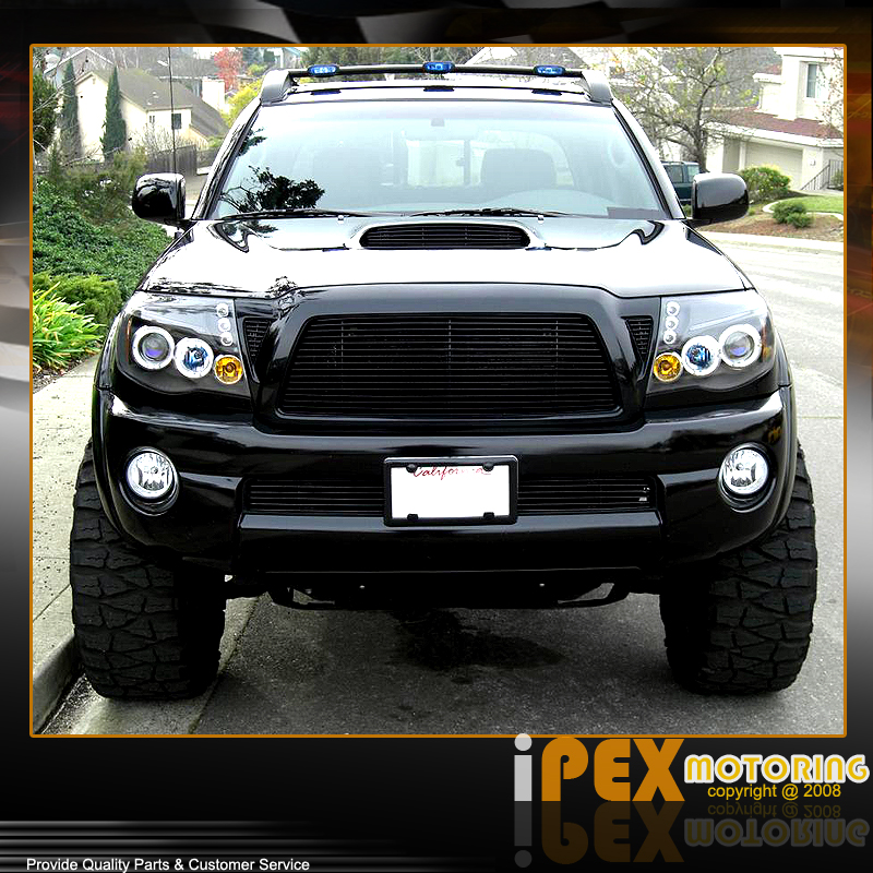 Toyota Tacoma Headlights: For All 2005-2011 Toyota Tacoma Halo Projector LED Black