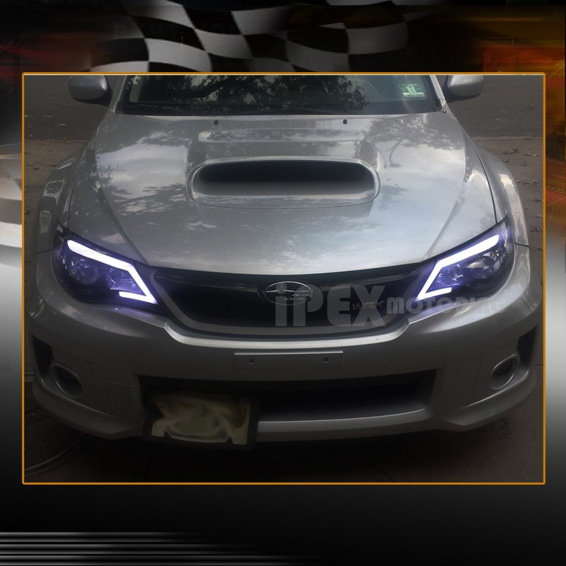 For 2008 2014 Subaru Impreza Wrx Projector Glow Led Strip Headlights