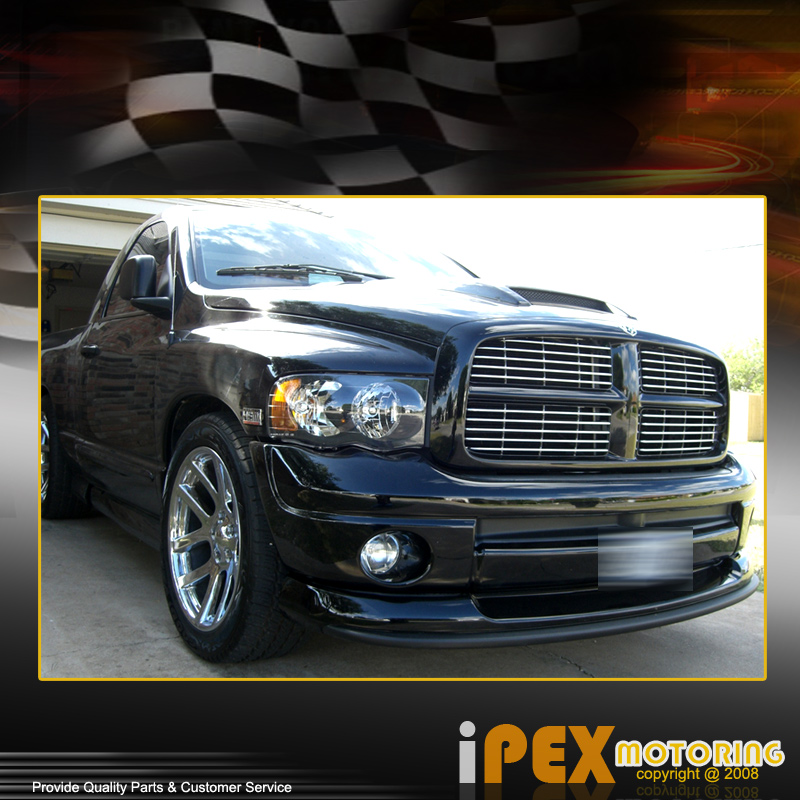 2002-2005 Dodge RAM 1500/2500/3500 Black Headlights + Clear Lens Fog