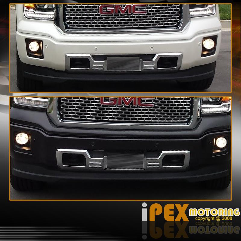 denali style 2014 2015 gmc sierra chrome front lower bumper grill skid plate ebay. Black Bedroom Furniture Sets. Home Design Ideas