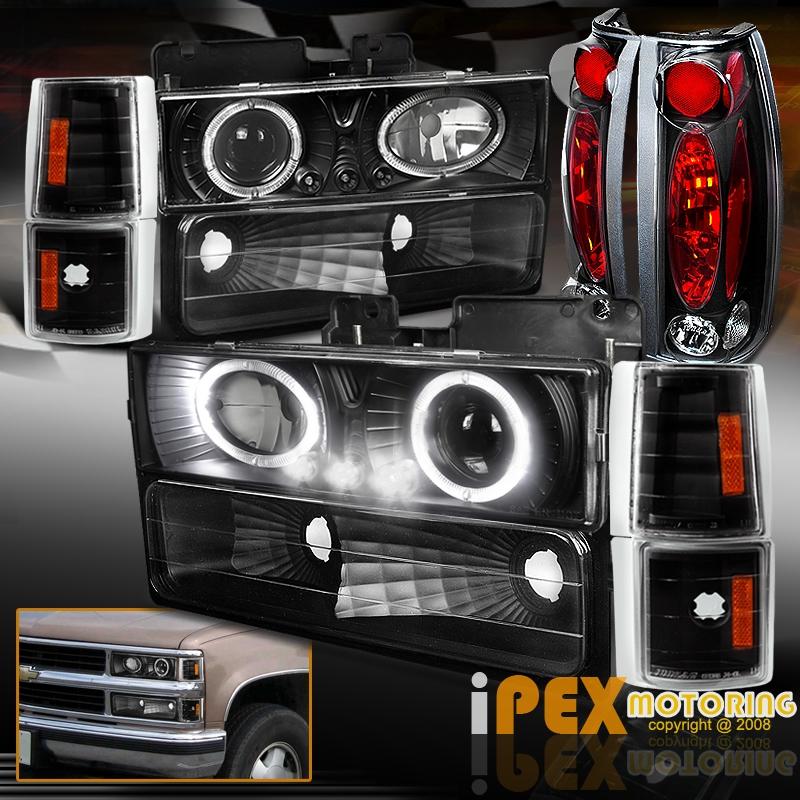 gmc sierra tail lights 94 98 gmc sierra c1500 c2500 halo projector led black headlight tail light 10pcs