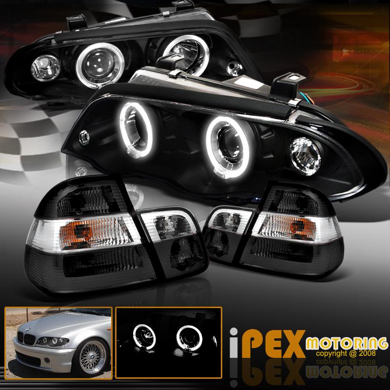 99 00 01 BMW E46 3-Series 4Dr Angel Eye Halo Projector