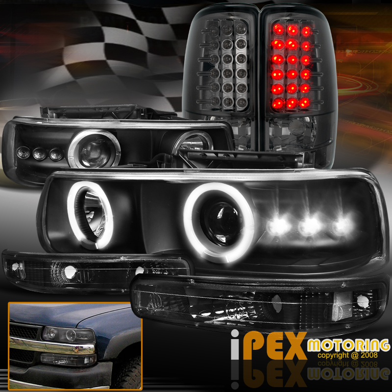 Chevy Suburban/Tahoe Halo Projector LED Black Headlight