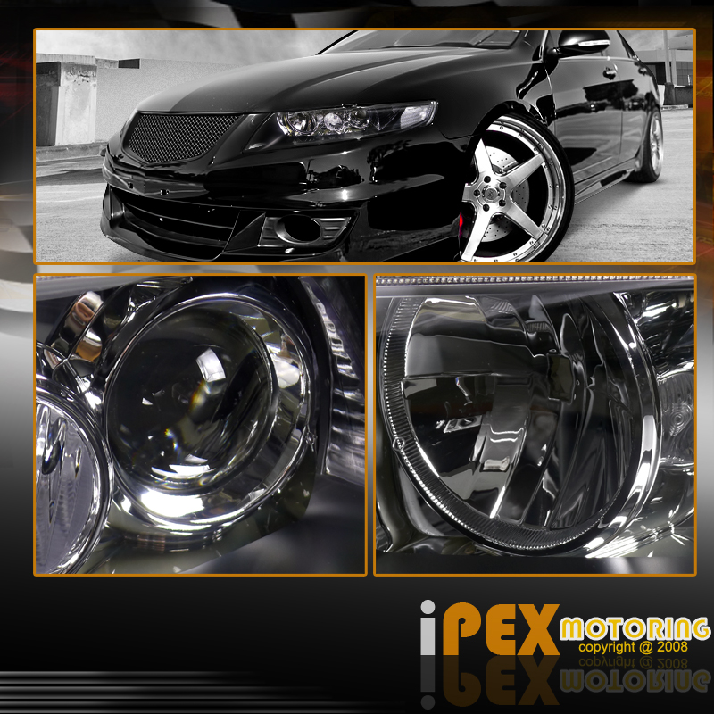 For All 2004-2005 Acura TSX JDM Black Projector Headlights