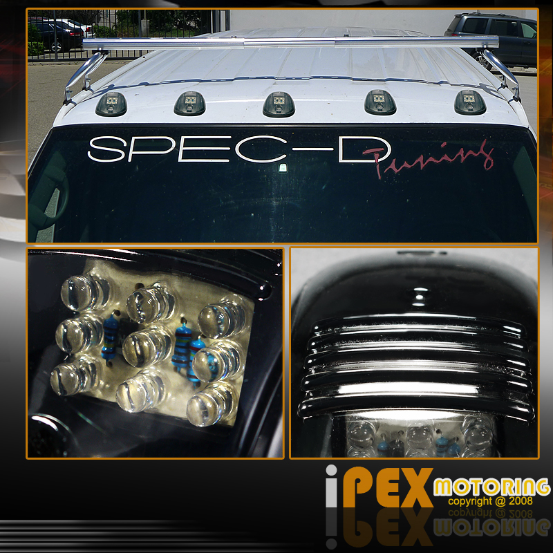 5 Pcs Cab Roof Top Off Road Smoked Led Fog Driving Marker