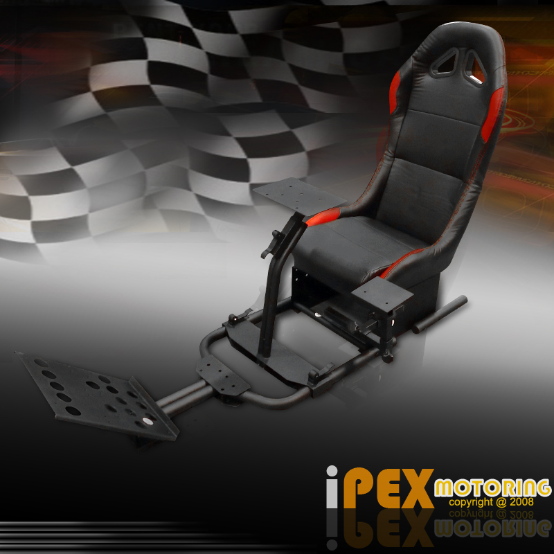 black driving simulator cockpit racing seat pro gaming. Black Bedroom Furniture Sets. Home Design Ideas