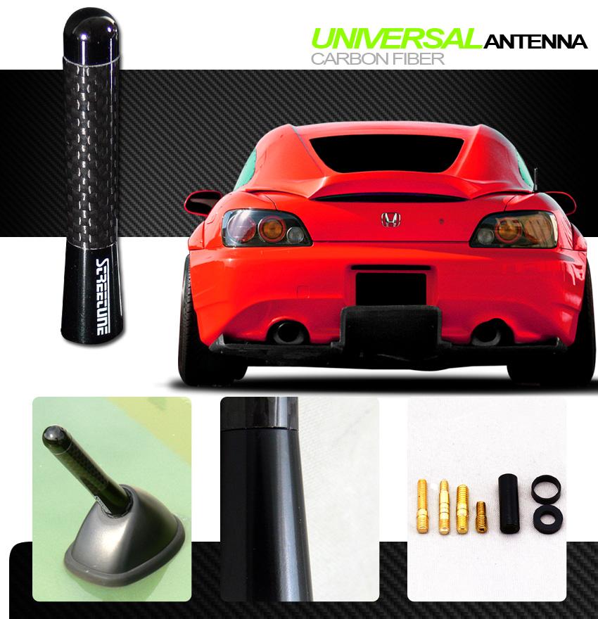 "3/"" Carbon Fiber Aluminum Roof Car Short Antenna Polished Black For Infiniti VK11"
