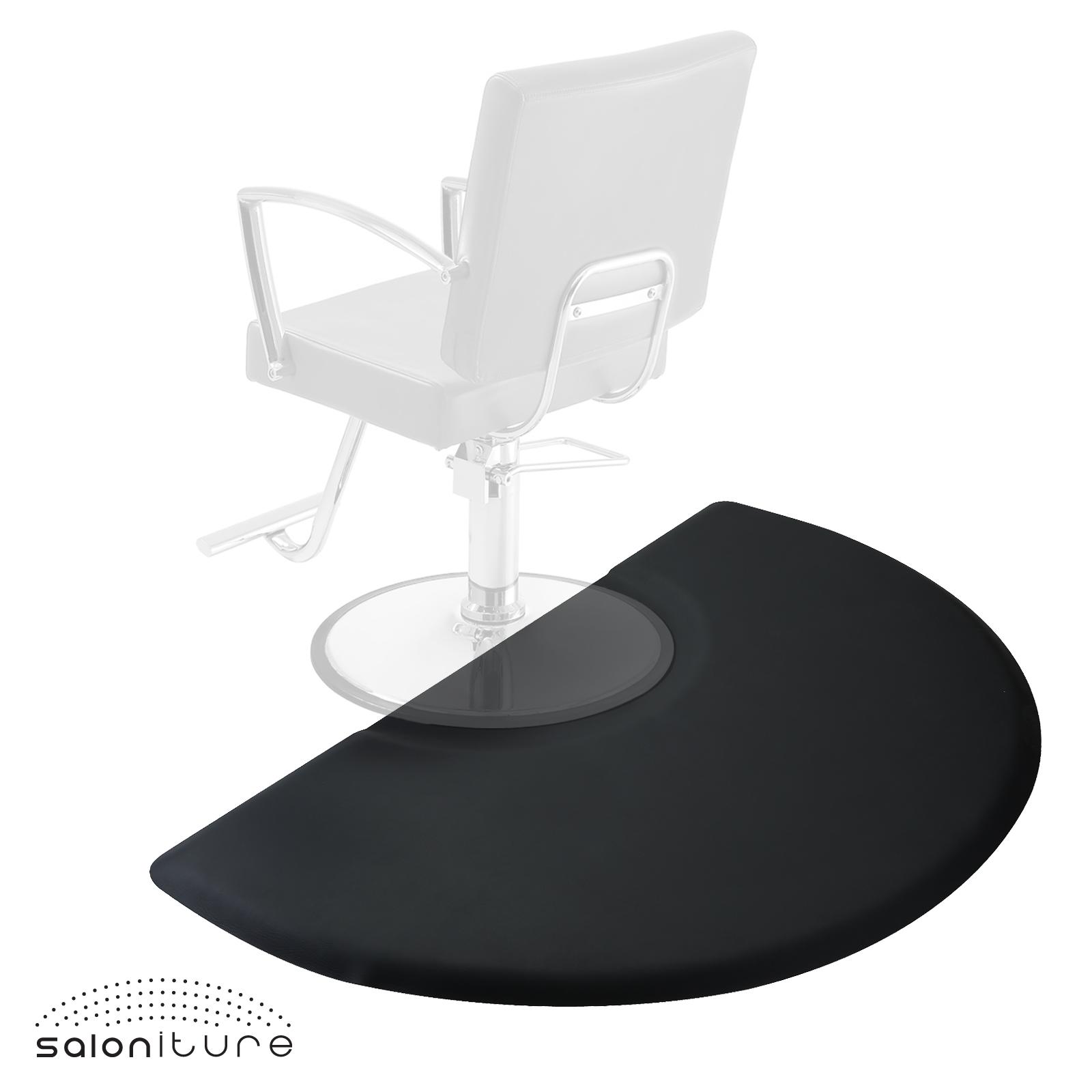 """5 x 3 Black Semi Circle Salon Barber Chair Anti Fatigue Floor Mat 1 2"""" Thick 5 3"""