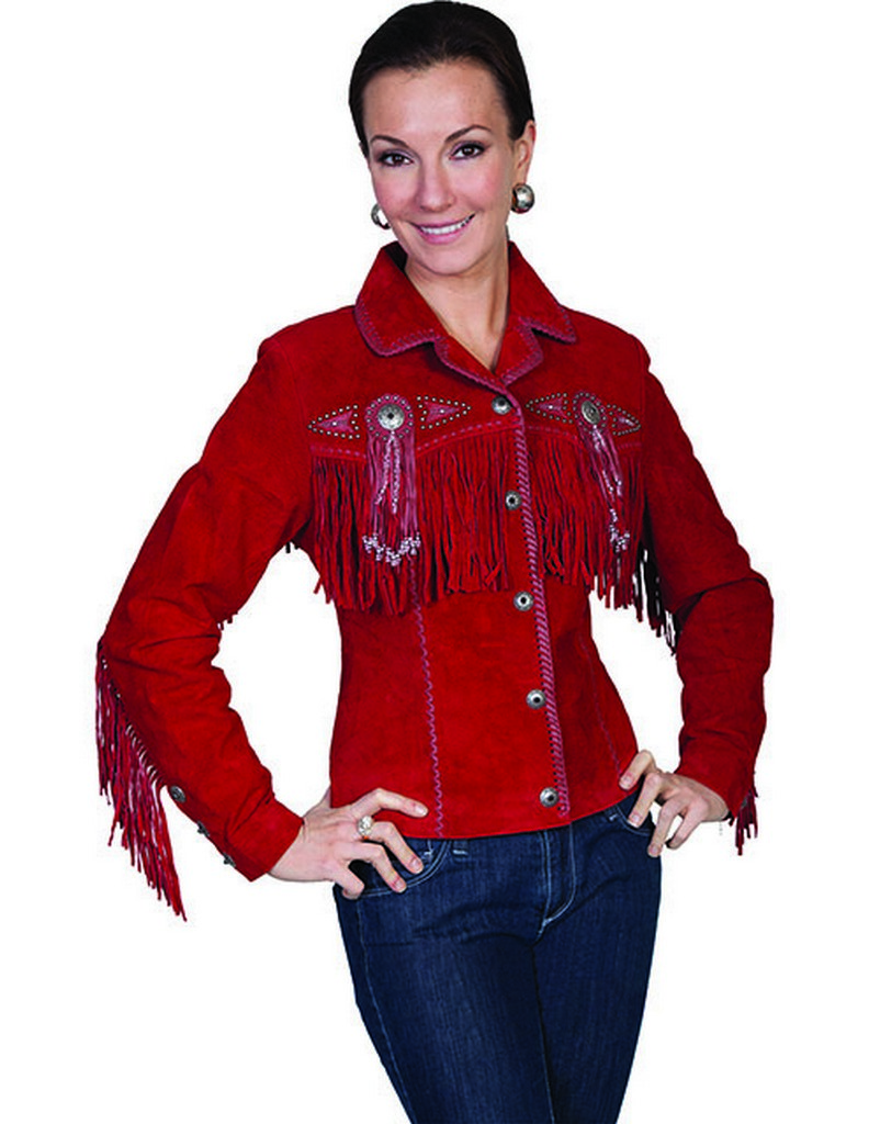 Scully Western Jacket Womens Leather Beaded Fringe Fitted
