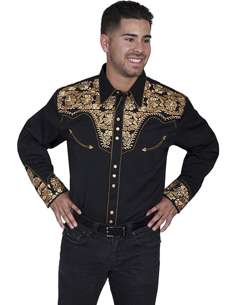 5c0aec5843d Scully Western Shirt Mens Long Sleeve Embroidered Snap P ..