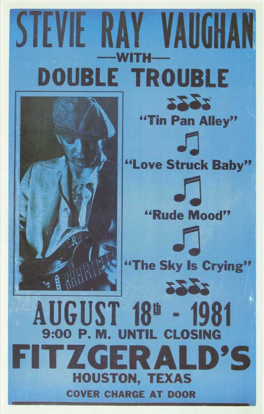 stevie ray vaughan 1981 concert poster fitzgeralds tx ebay. Black Bedroom Furniture Sets. Home Design Ideas