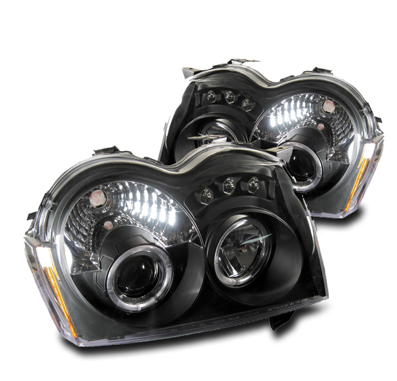05 06 07 JEEP GRAND CHEROKEE BLACK SET HALO PROJECTOR DRL LED HEAD LIGHTS 14