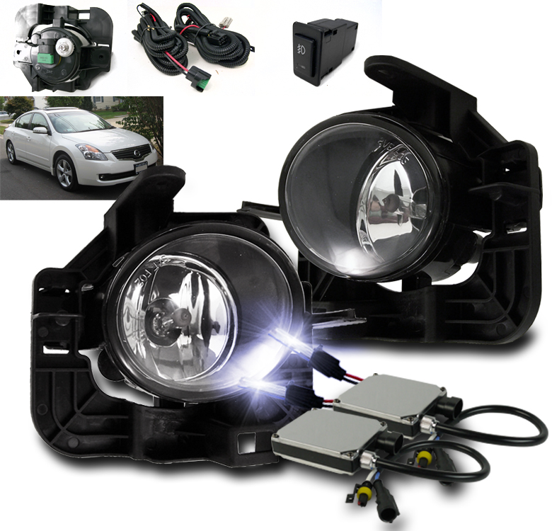 LOWER BUMPER FOG LIGHTS CHROME W//10K HID SET FOR 2007 2008 2009 ALTIMA 4DR SEDAN
