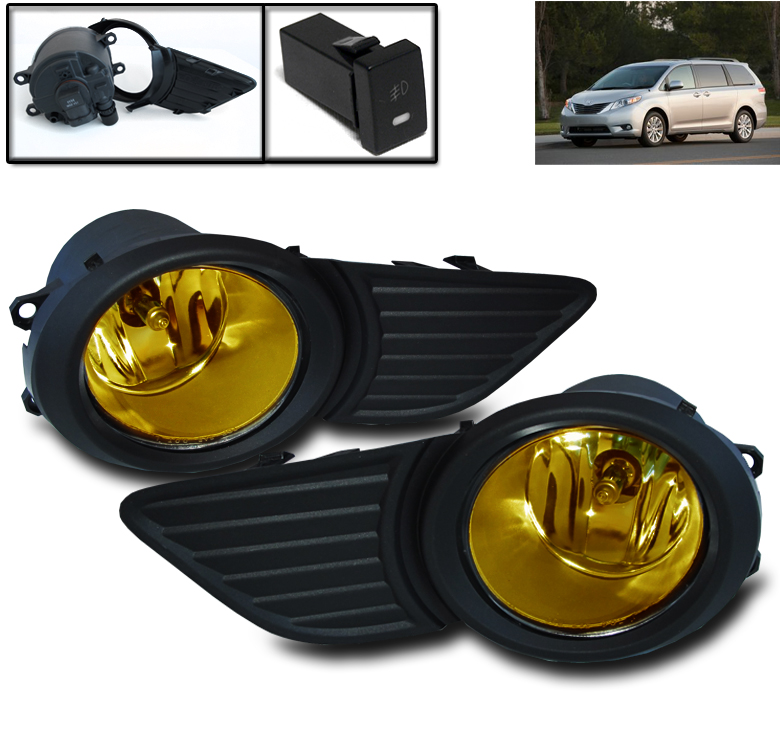 Clear Lens Fog Light Kit For Toyota Sienna 2011-2017 OE-Style Front Bumper Driving Lamp Assembly Replacement Bulbs /& Wiring Harness /& Switch