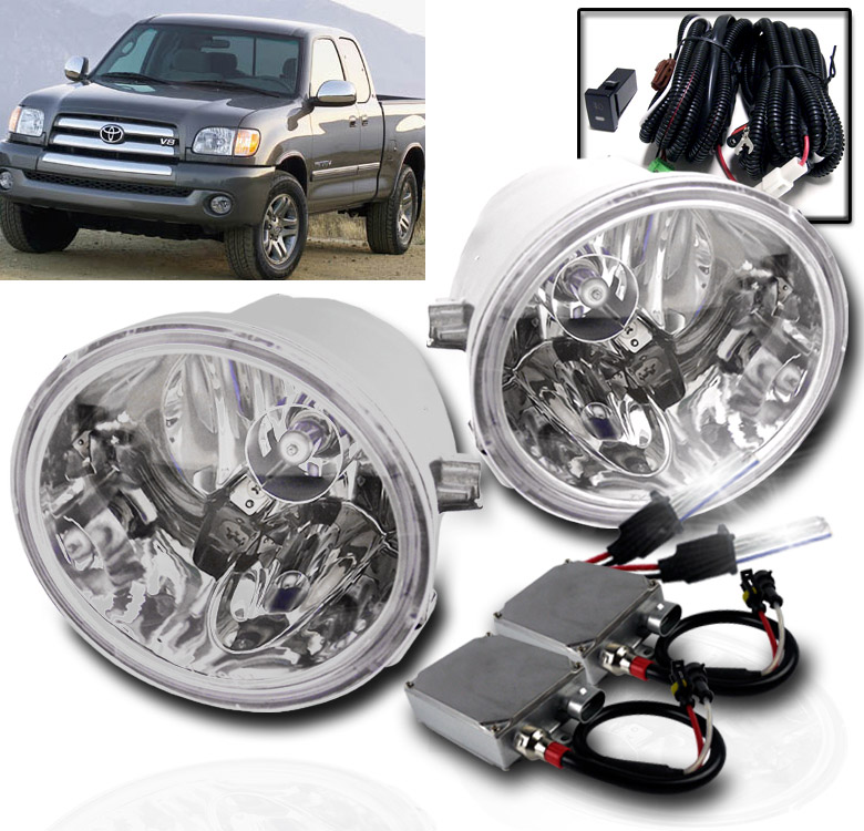 HID 6000K Unpainted Polycarbonate Resin Halo Projector Foglight Replacement Pair Clear Winjet Fog Lights Compatible With 2001-2007 Toyota Sequoia 2000-2006 Toyota Tundra