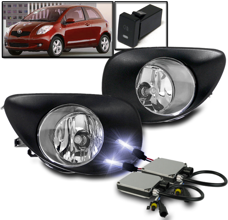 LED Driver side WITH install kit -Chrome 6 inch Post mount spotlight 2008 Toyota YARIS 3DR