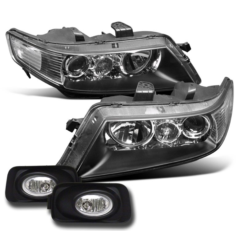 2004 2005 ACURA TSX 4DR SEDAN BLACK PROJECTOR HEAD LIGHTS