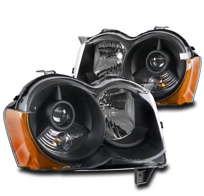 08 09 10 JEEP GRAND CHEROKEE BLACK REPLACEMENT PROJECTOR HEADLIGHTS LAMPS 14