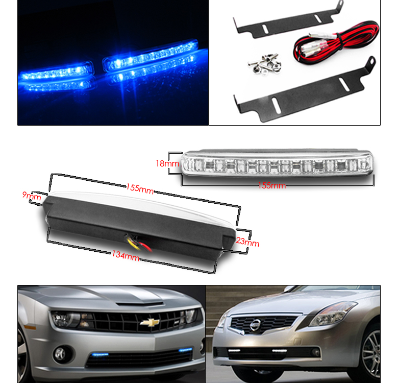 Chrome Led Projector Headlights  Blue Drl Hid For 2007