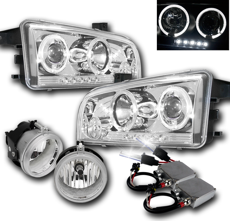 06-09 DODGE CHARGER CHROME PROJECTOR HALO LED HEADLIGHTS+FOG LAMP+50W 6K HID 14