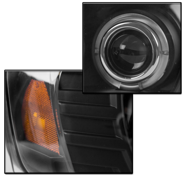 04-08 PONTIAC GRAND PRIX DUAL HALO LED BLACK PROJECTOR HEADLIGHTS LAMP SET 16