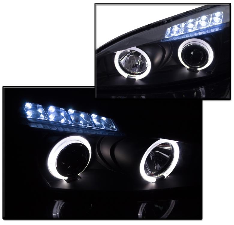 04-08 PONTIAC GRAND PRIX DUAL HALO LED BLACK PROJECTOR HEADLIGHTS LAMP SET 17