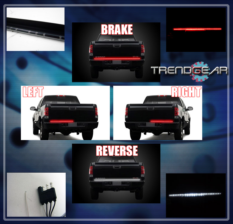 49 universal led strip tailgate bed brake tail light bar pickup 49 inch universal fit led tailgate bar brakesignal light aloadofball Images