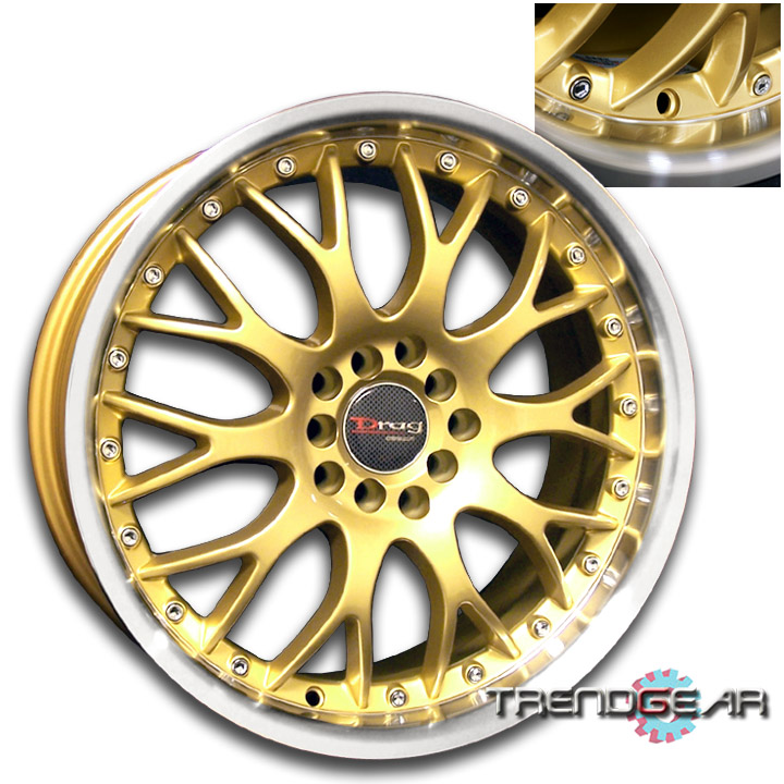 "17""DRAG DR19 GOLD WHEEL RIM ACURA INTEGRA RSX TSX CL TL"