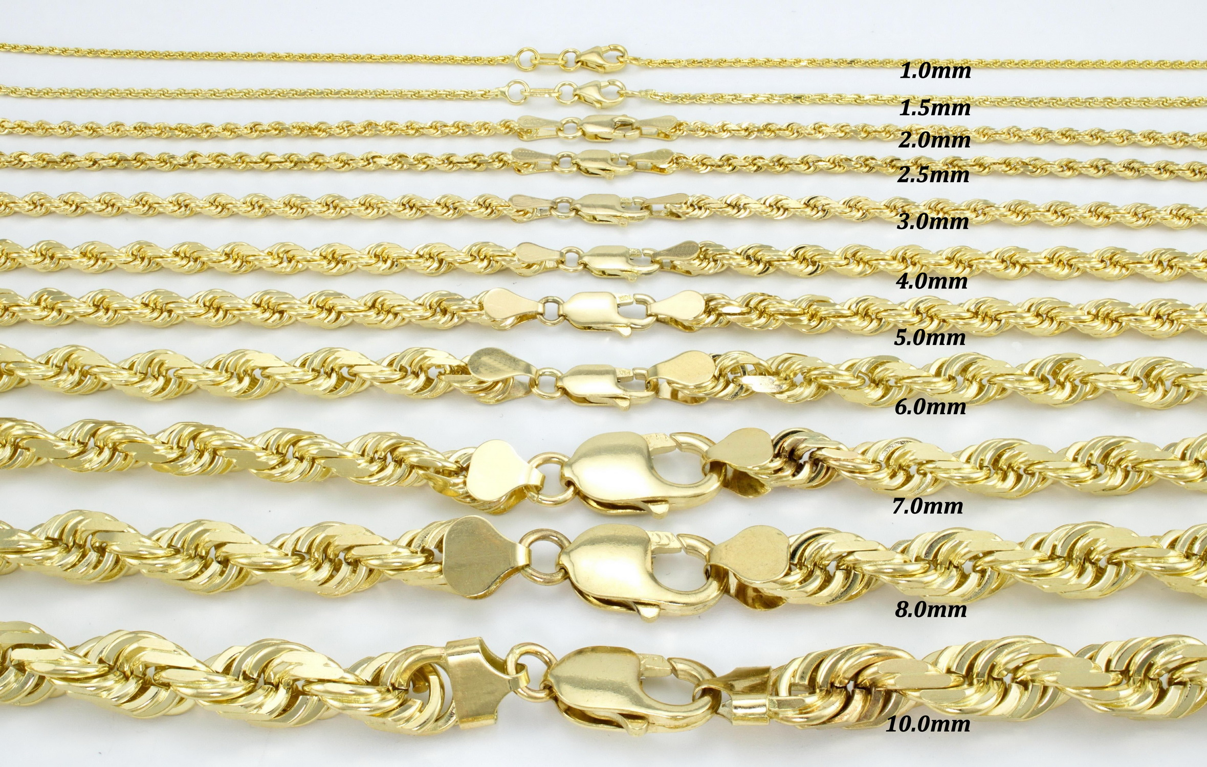 Womens 18/'/' 10K Solid Genuine Yellow Gold Rope Chain Necklace For Pendant Charm