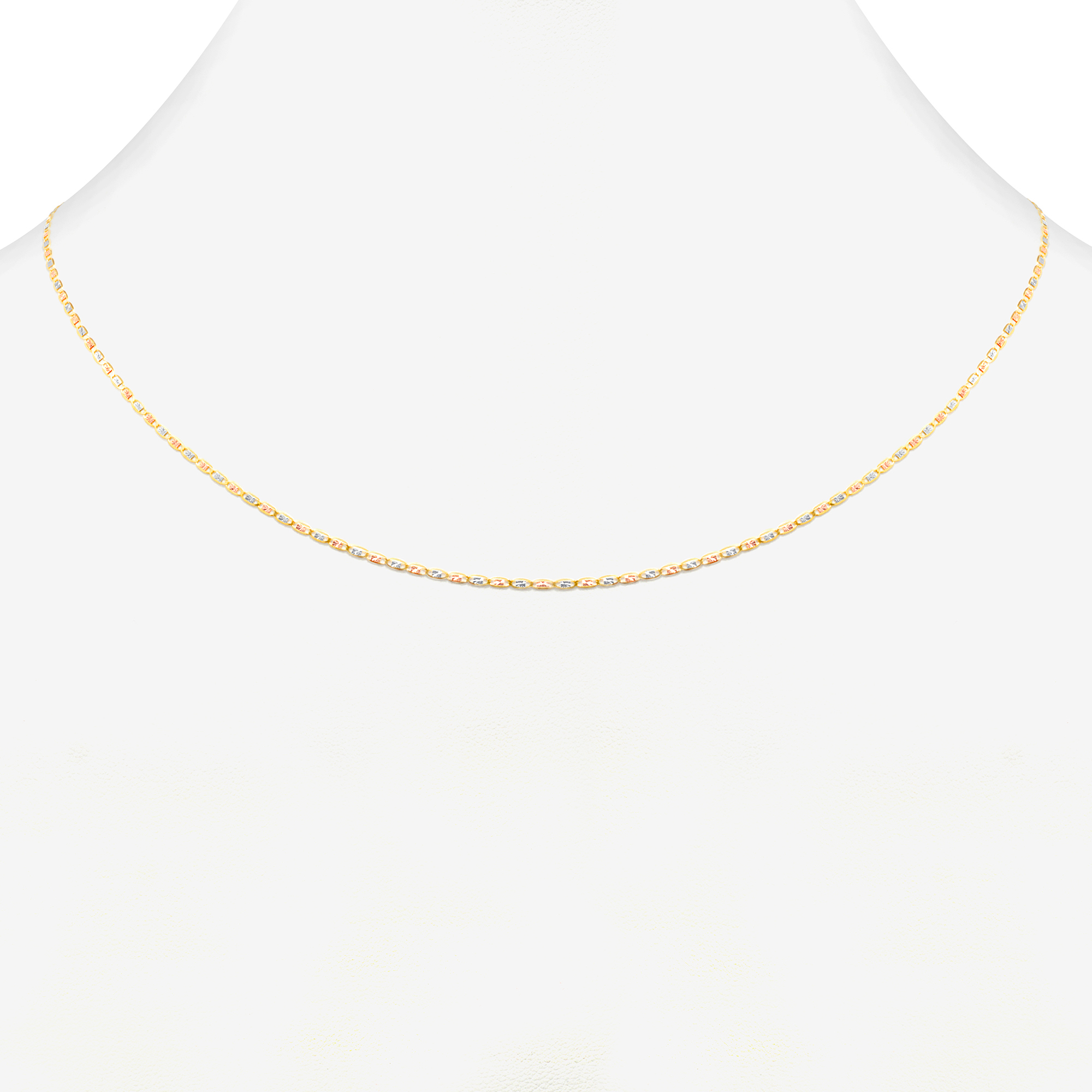 10K-Solid-Tri-Yellow-Rose-White-Gold-Thin-1-5mm-Valentino-Chain-Necklace-16-034-24-034 thumbnail 21