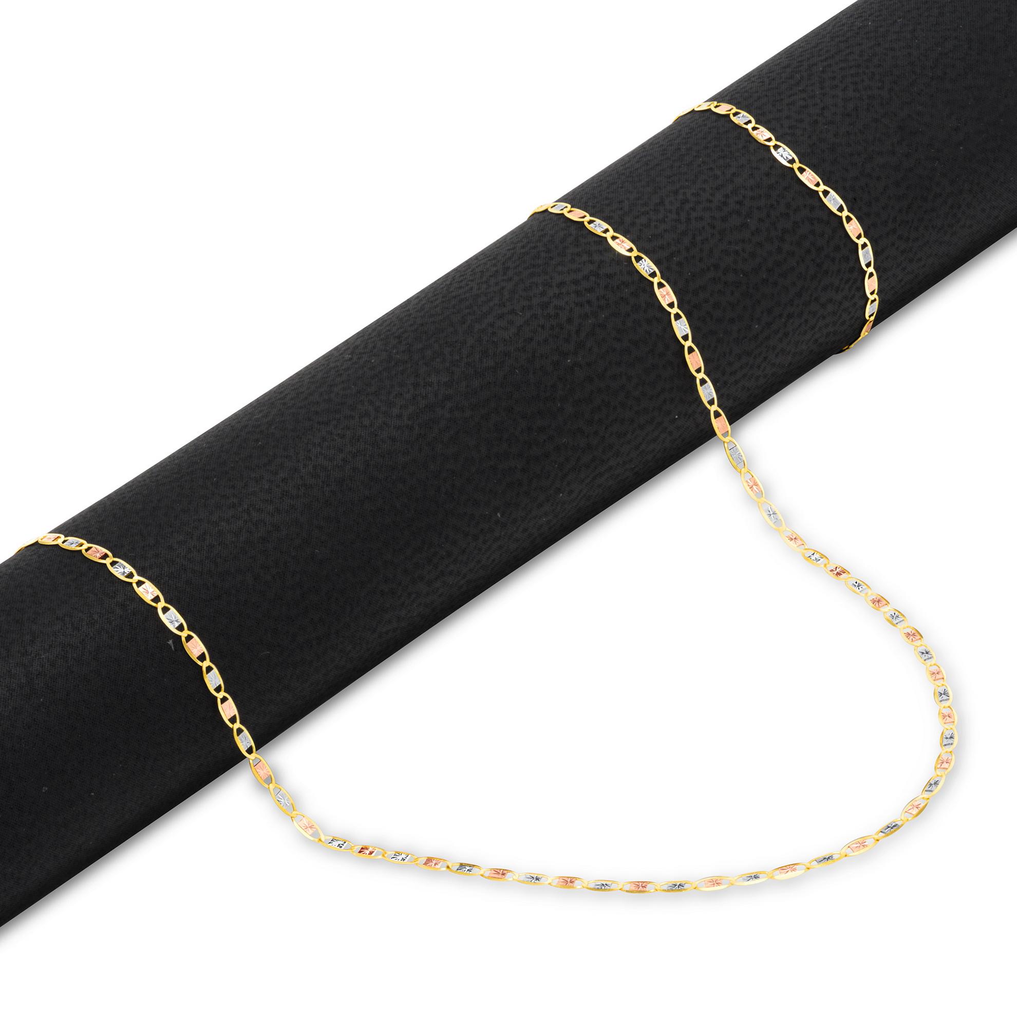 1.5mm 14K Tri-Color Gold Rope Anklet