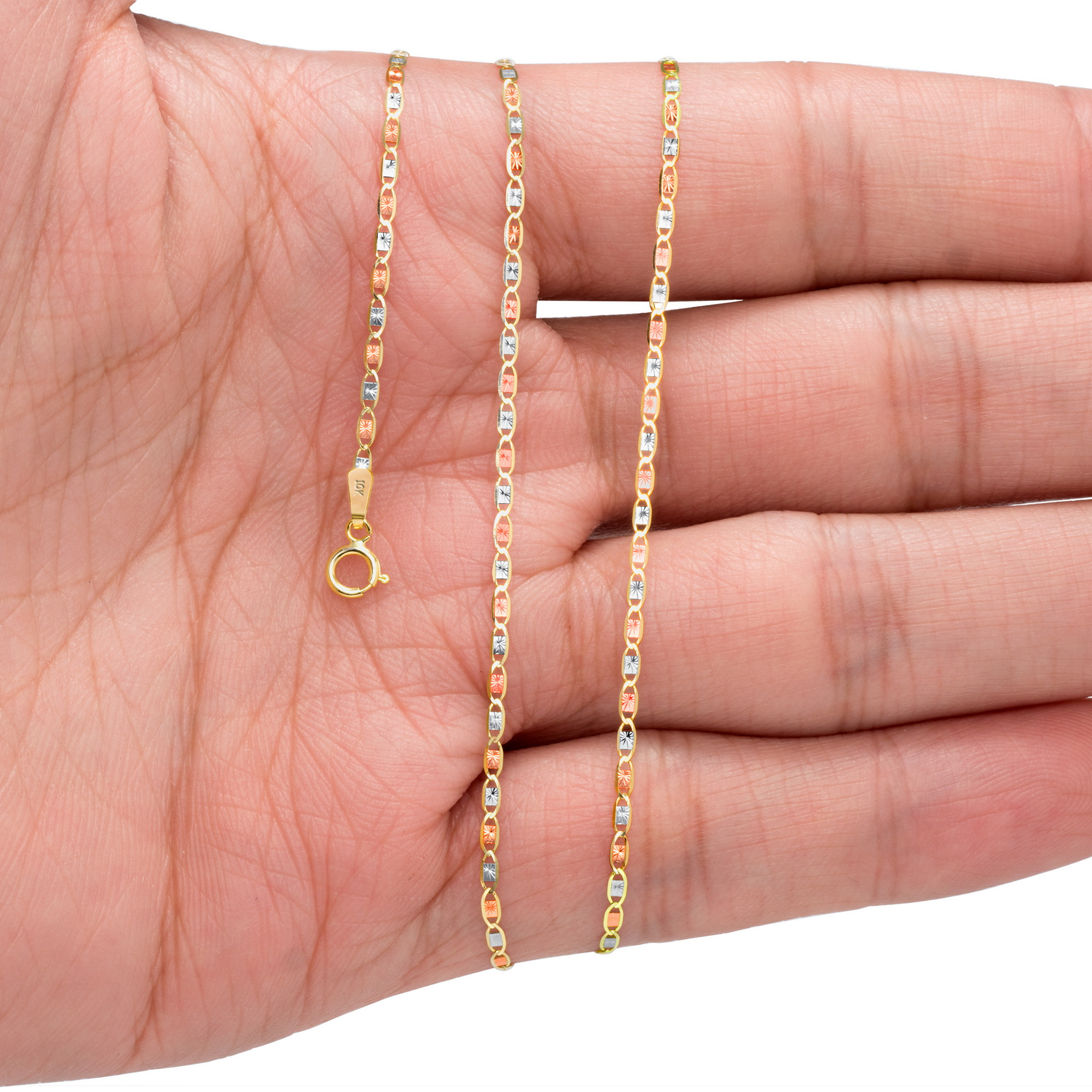 10K-Solid-Tri-Yellow-Rose-White-Gold-Thin-1-5mm-Valentino-Chain-Necklace-16-034-24-034 thumbnail 13