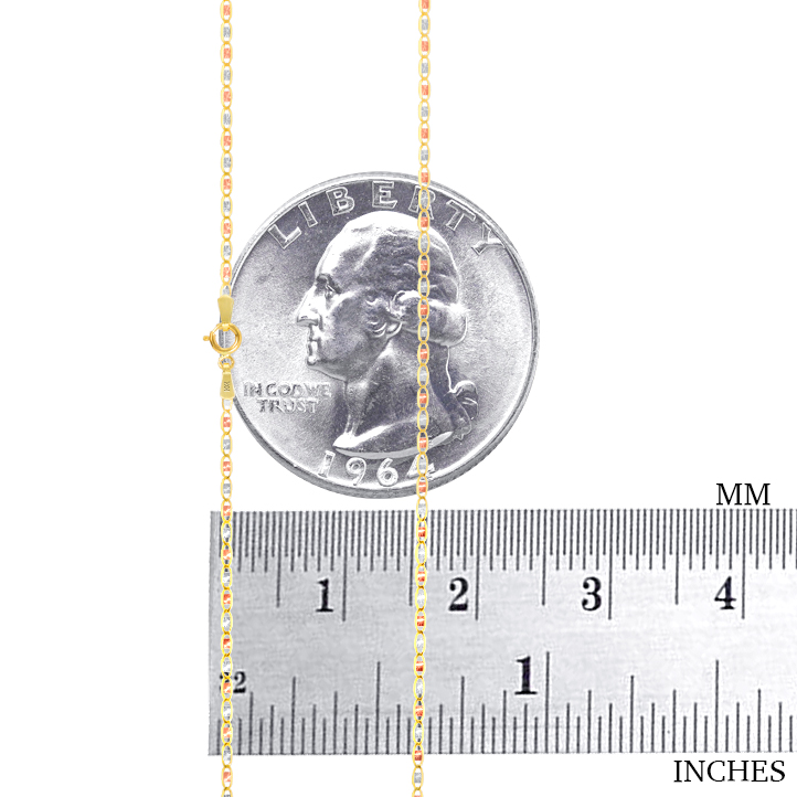 10K-Yellow-Rose-White-Gold-1-5mm-6mm-Valentino-Chain-Necklace-Bracelet-7-034-30-034 thumbnail 13