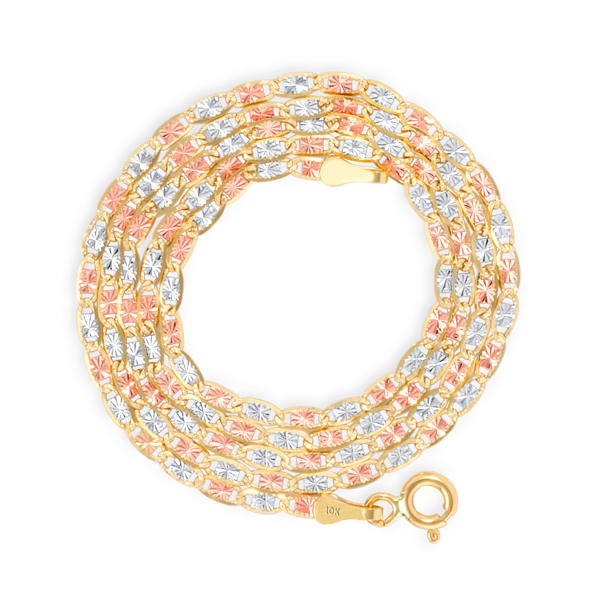 10K-Solid-Tri-Yellow-Rose-White-Gold-Thin-1-5mm-Valentino-Chain-Necklace-16-034-24-034 thumbnail 17