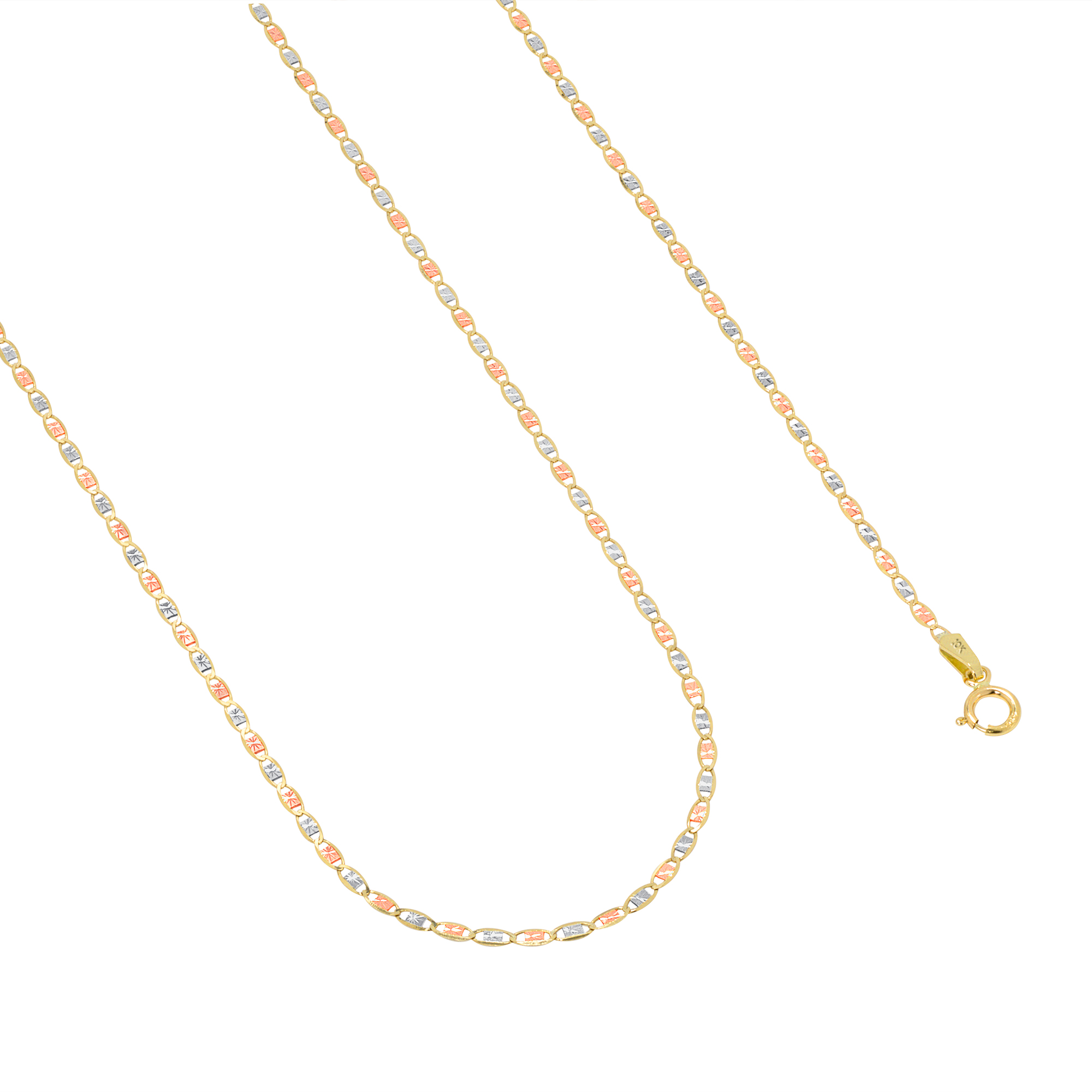 10K-Solid-Tri-Yellow-Rose-White-Gold-Thin-1-5mm-Valentino-Chain-Necklace-16-034-24-034 thumbnail 19