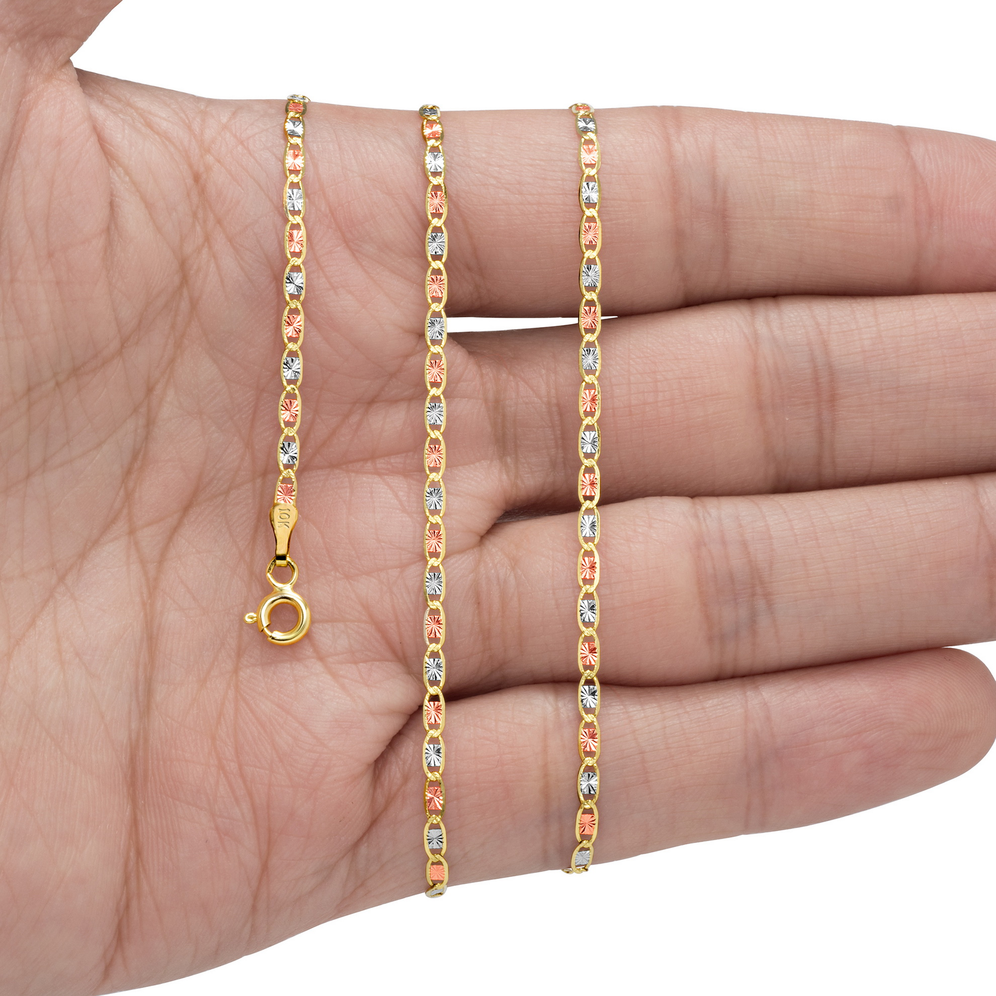 10K-Yellow-Rose-White-Gold-1-5mm-6mm-Valentino-Chain-Necklace-Bracelet-7-034-30-034 thumbnail 16