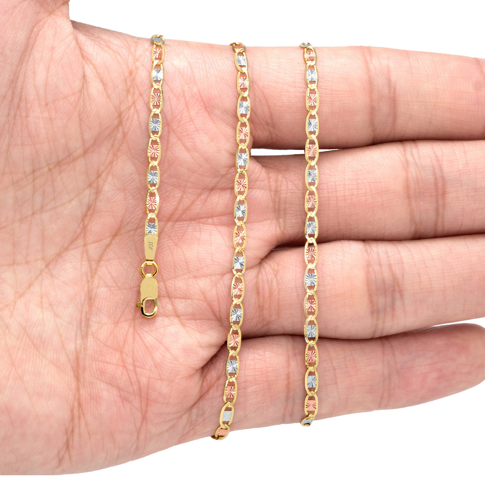 10K-Yellow-Rose-White-Gold-1-5mm-6mm-Valentino-Chain-Necklace-Bracelet-7-034-30-034 thumbnail 14