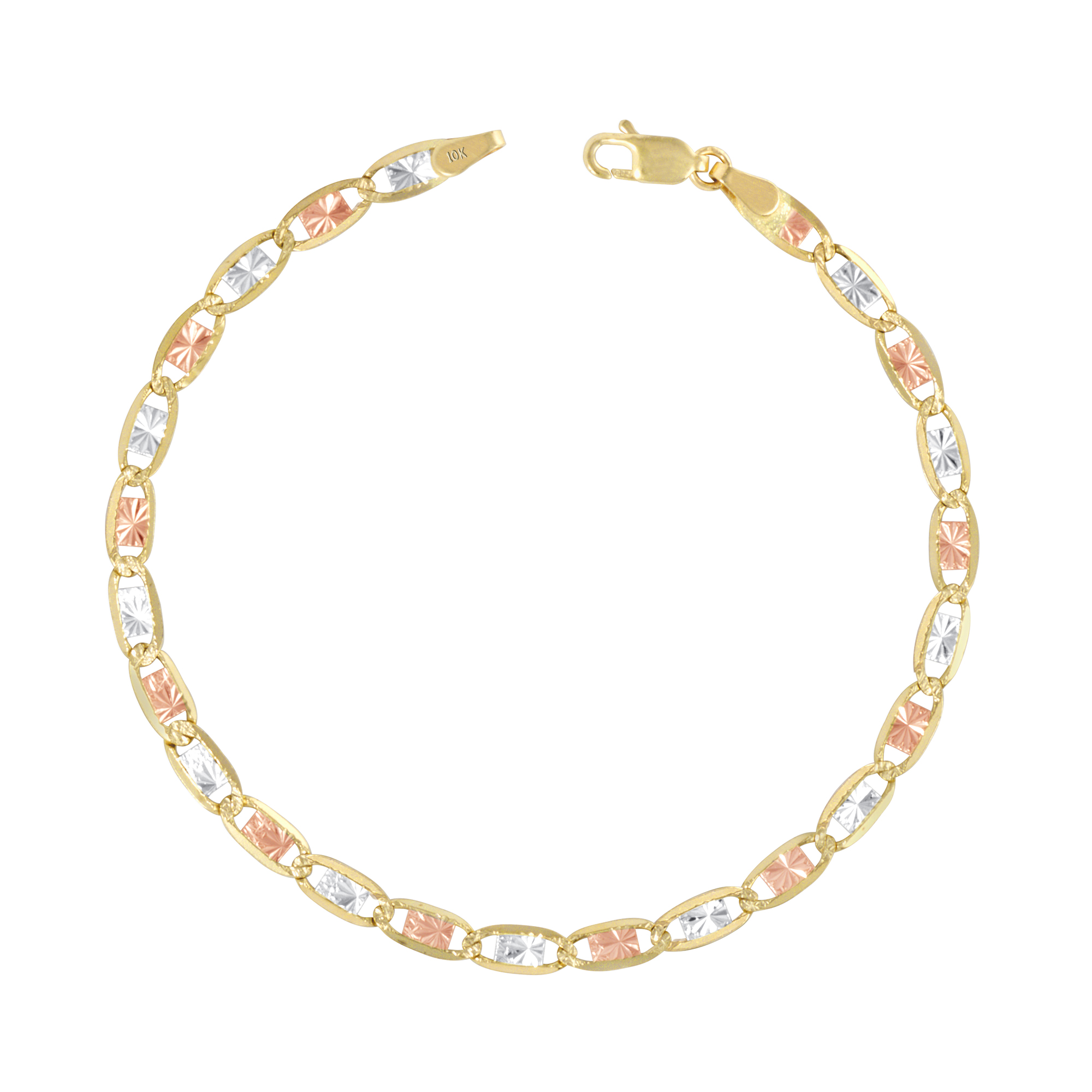 5+1 Wellingsale 14k Tri 3 Color Gold Polished 2.5mm ID Valentino Bracelet with Spring Ring Clasp