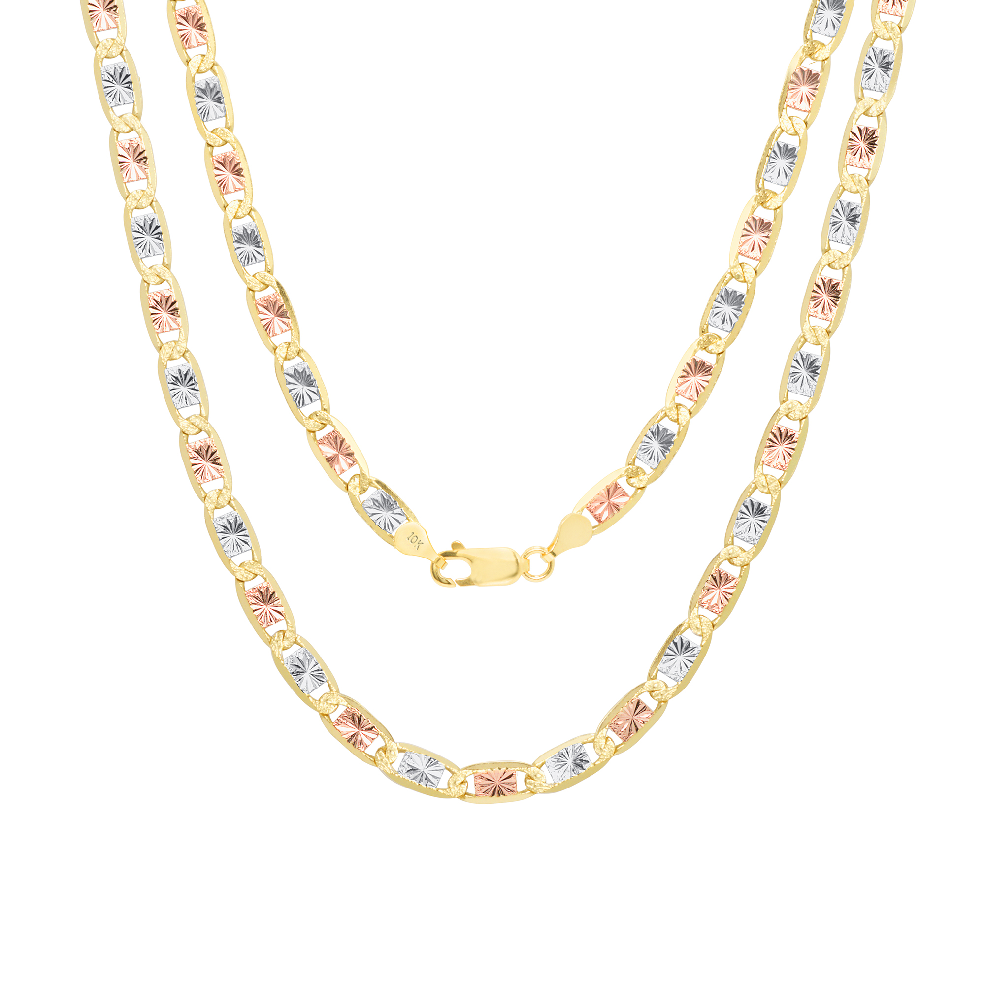 FB Jewels 14K Yellow Gold Valentino Star Diamond-Cut Chain Necklace With Lobster Claw Clasp