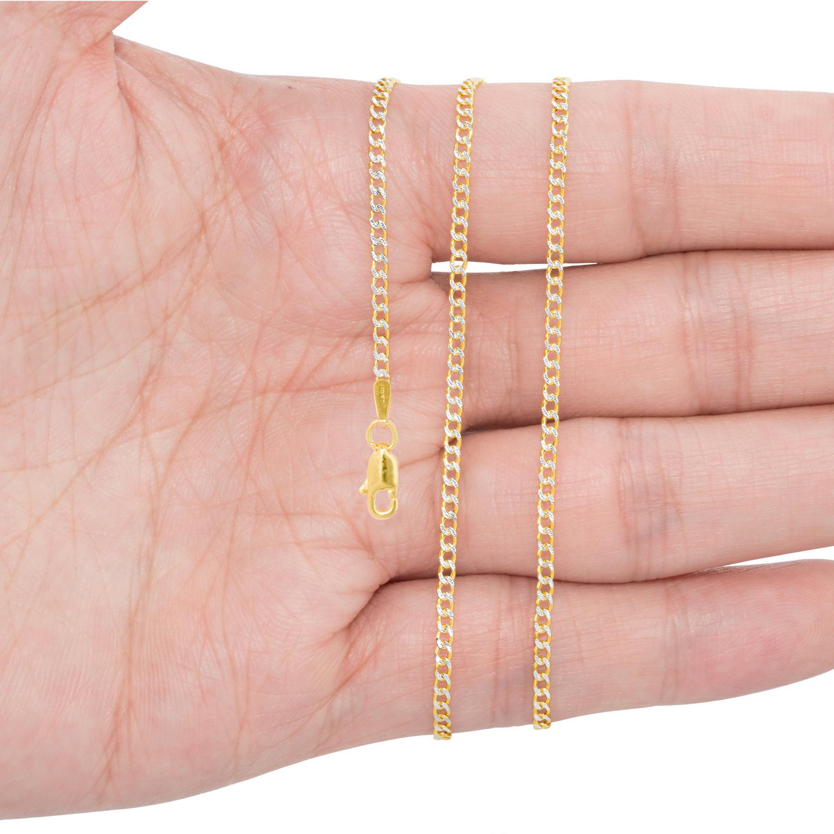 10K-Yellow-Gold-2mm-10-5mm-Diamond-Cut-Pave-Cuban-Chain-Necklace-Bracelet-7-034-30-034 thumbnail 15