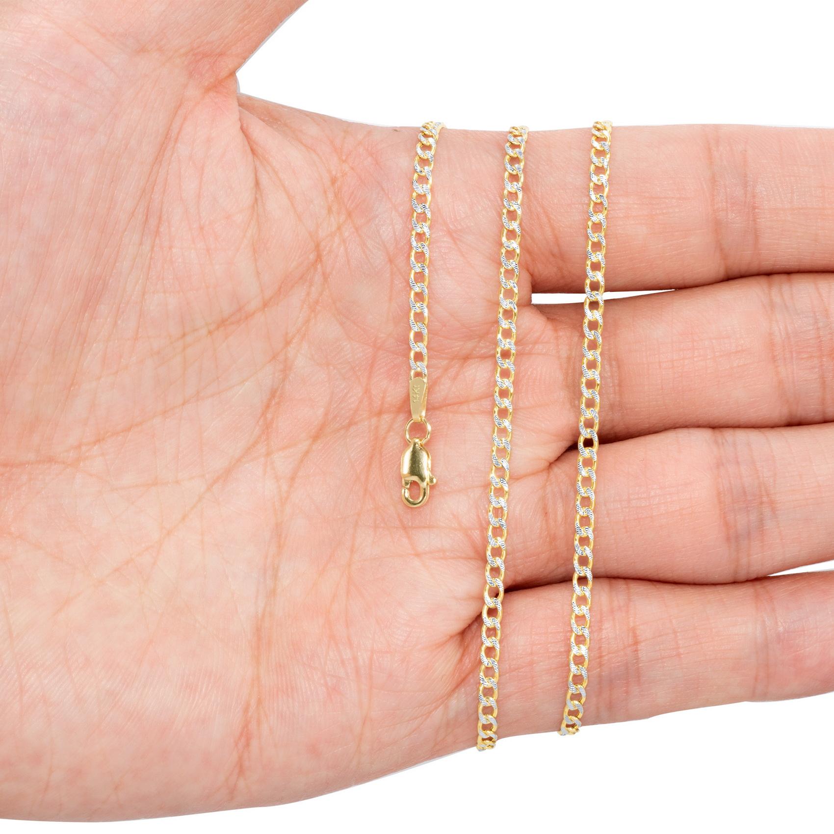 10K-Yellow-Gold-2mm-10-5mm-Diamond-Cut-Pave-Cuban-Chain-Necklace-Bracelet-7-034-30-034 thumbnail 13