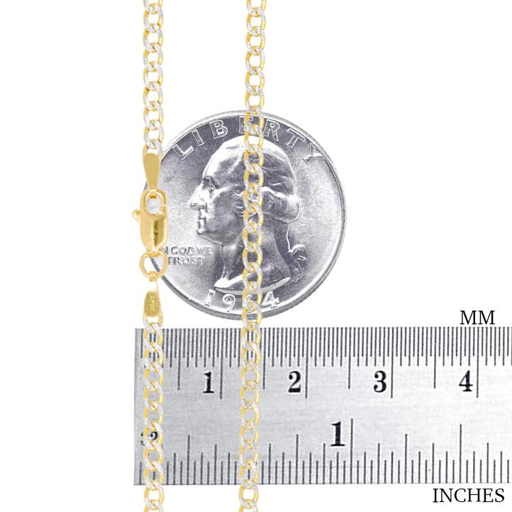 10K-Yellow-Gold-2mm-10-5mm-Diamond-Cut-Pave-Cuban-Chain-Necklace-Bracelet-7-034-30-034 thumbnail 14