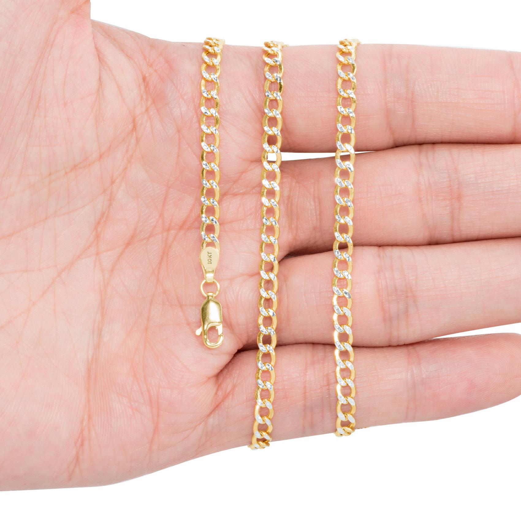 10K-Yellow-Gold-2mm-10-5mm-Diamond-Cut-Pave-Cuban-Chain-Necklace-Bracelet-7-034-30-034 thumbnail 17