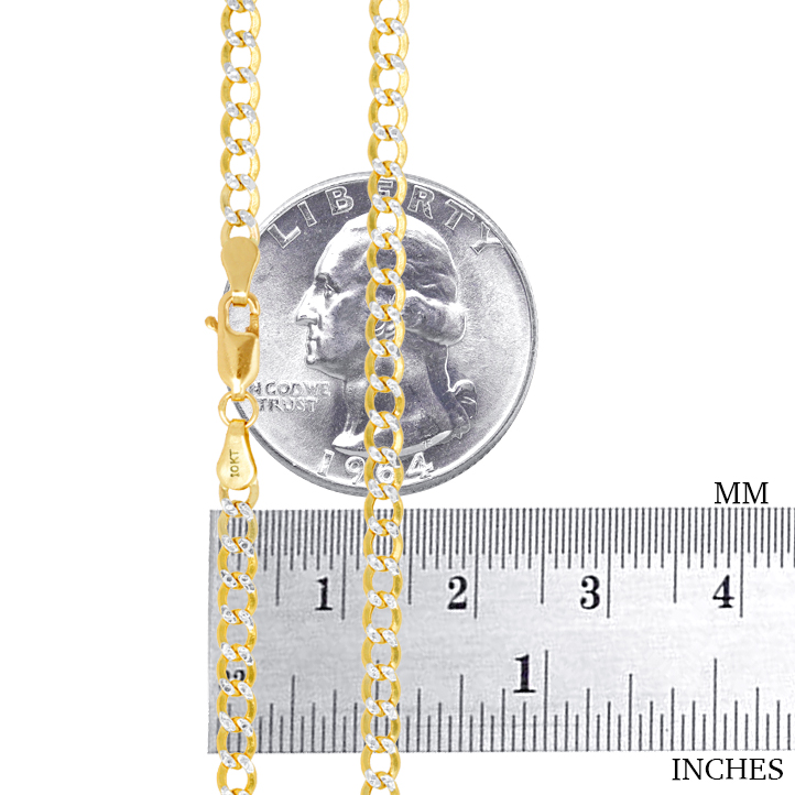 10K-Yellow-Gold-2mm-10-5mm-Diamond-Cut-Pave-Cuban-Chain-Necklace-Bracelet-7-034-30-034 thumbnail 18