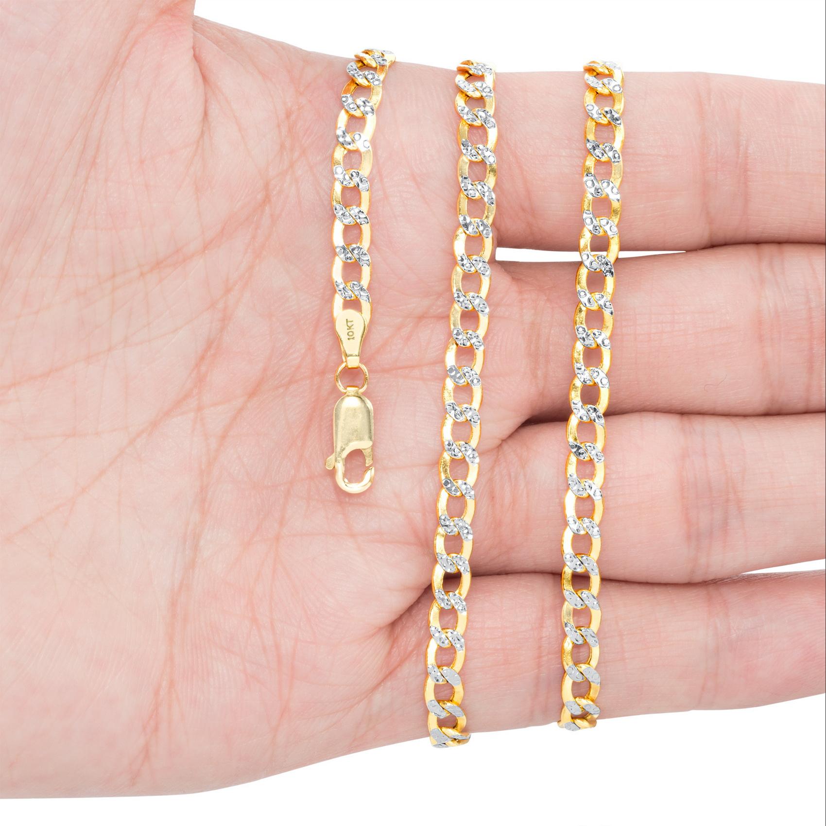 10K-Yellow-Gold-2mm-10-5mm-Diamond-Cut-Pave-Cuban-Chain-Necklace-Bracelet-7-034-30-034 thumbnail 19