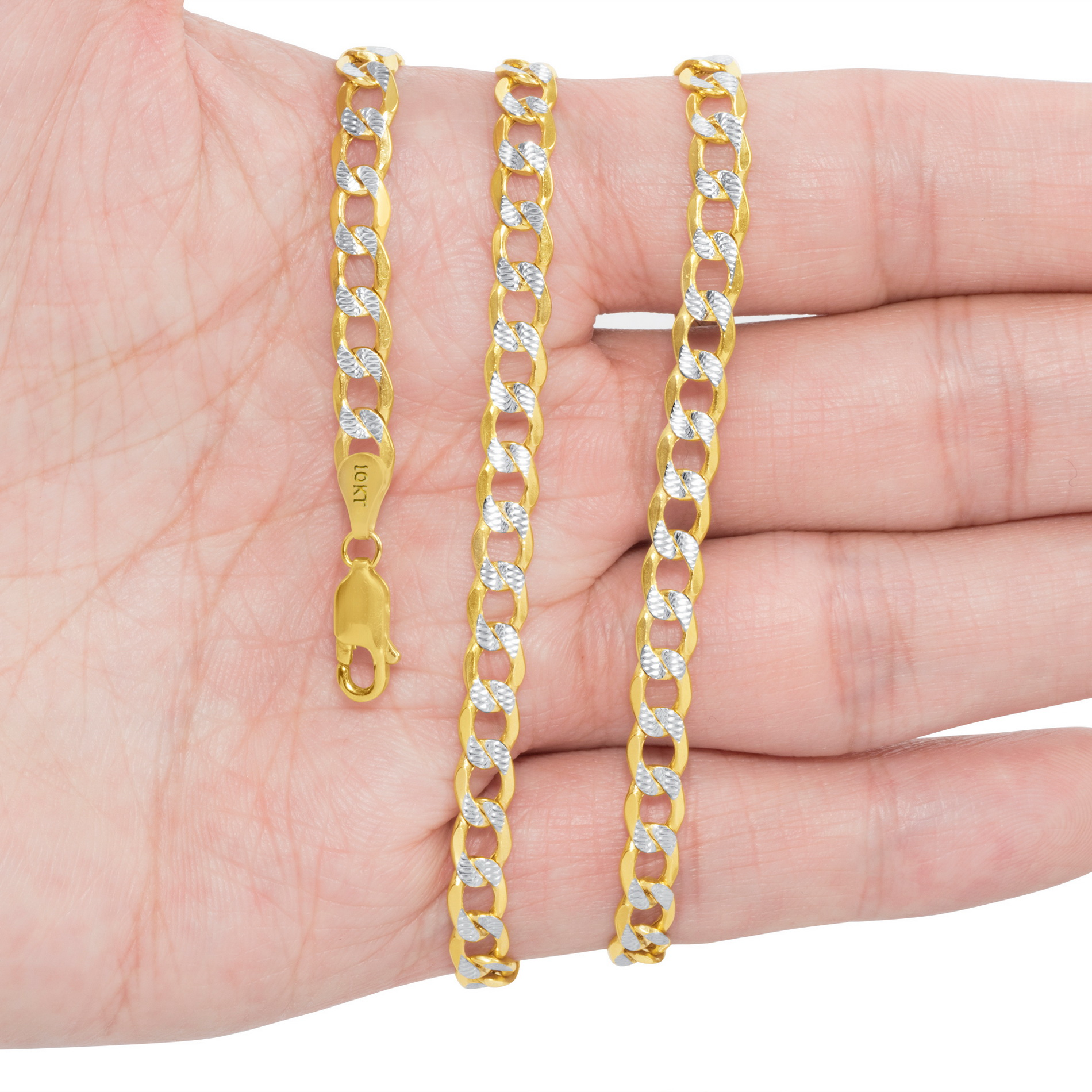 10K-Yellow-Gold-2mm-10-5mm-Diamond-Cut-Pave-Cuban-Chain-Necklace-Bracelet-7-034-30-034 thumbnail 21