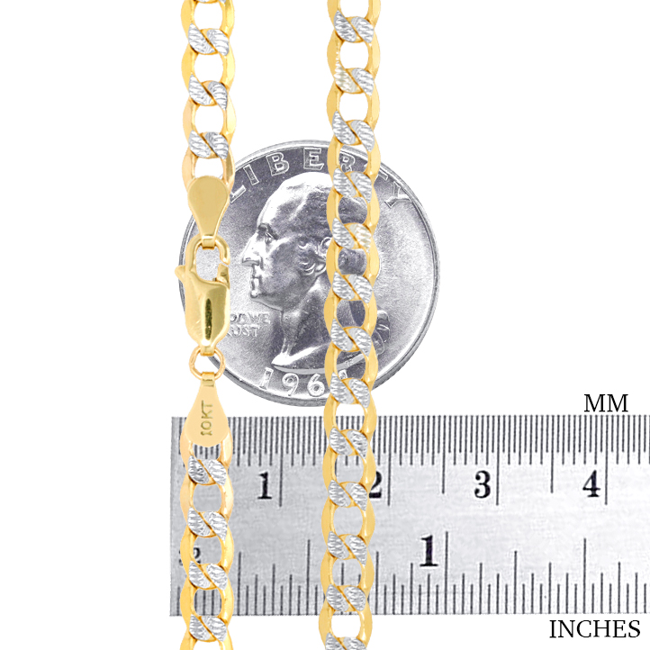 10K-Yellow-Gold-2mm-10-5mm-Diamond-Cut-Pave-Cuban-Chain-Necklace-Bracelet-7-034-30-034 thumbnail 22